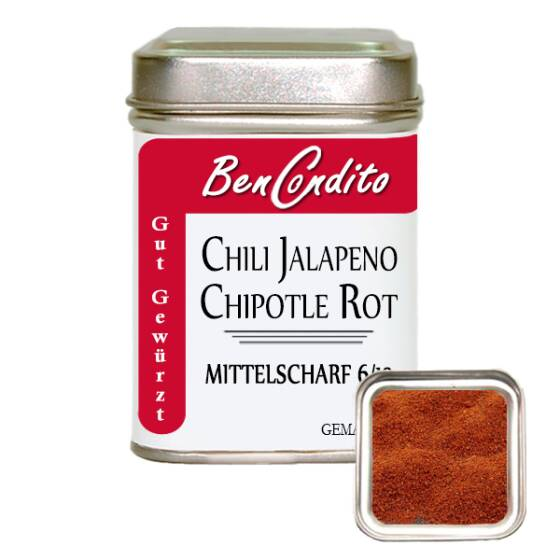 Rote Jalapeno Chili Chipotle gemahlen 80 Gr. Dose